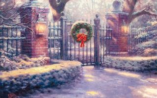 Фото бесплатно thomas kinkade, christmas gate, томас кинкейд, painting, живопись, ворота