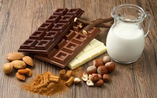 Обои фундук, сладкое, миндаль, молоко, шоколад, орехи