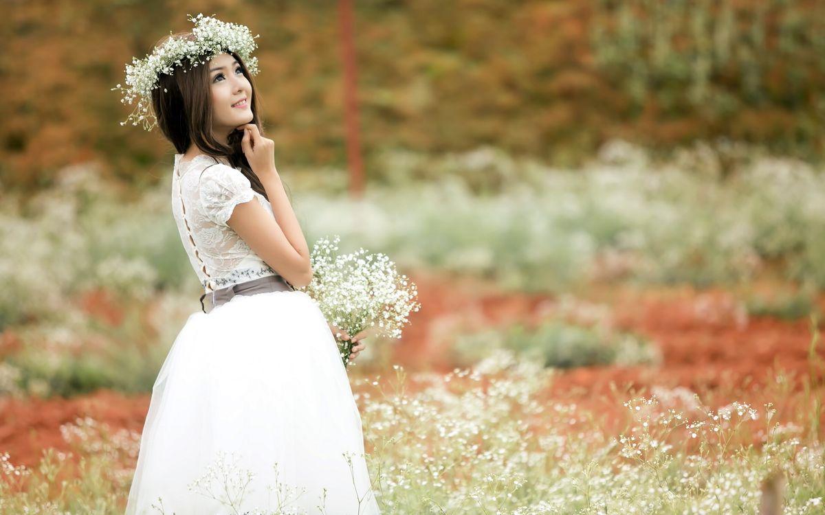 Фото бесплатно азиатка, платье, белое - на рабочий стол