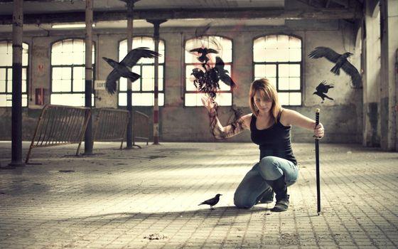 Заставки birds, female, fly