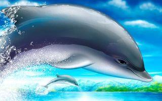 Фото бесплатно дельфин, рисунок, графика