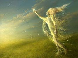 девушка, ветер, линии, поле, трава