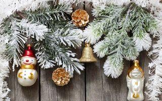 Бесплатные фото елка,ветки,снеговики,игрушки,украшения,колокольчик,шишка