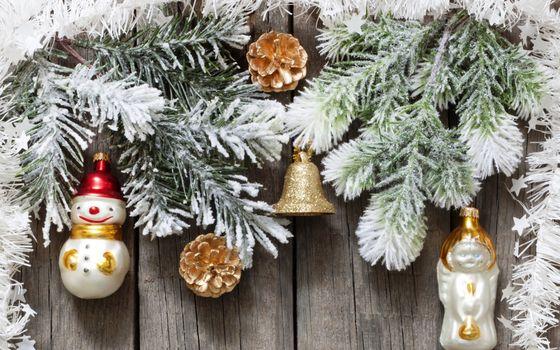 Фото бесплатно елка, ветки, снеговики