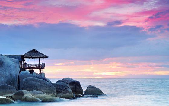 Фото бесплатно море, небо, горизонт, берег, камни, хижина, природа