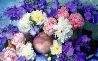 Бесплатные фото пионы,ваза,цветки,лепестки,аромат,букет,картина