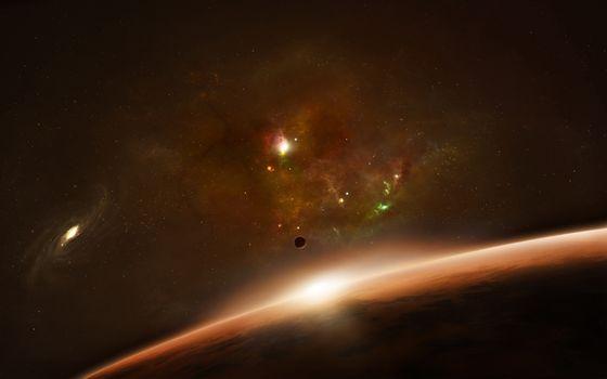 Бесплатные фото планета,поверхность,скопления,туманность,галактика,звезды,спутник,космос