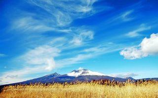 Фото бесплатно поле, гора, небо
