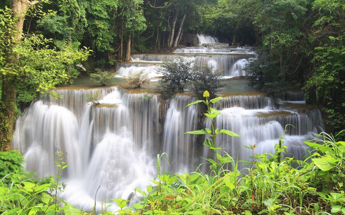 Фото бесплатно река, водопад, брызги, трава, деревья, листва, природа, природа