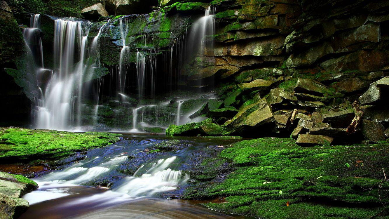 Фото бесплатно река, водопад, камни, мох, вода, брызги, природа, природа