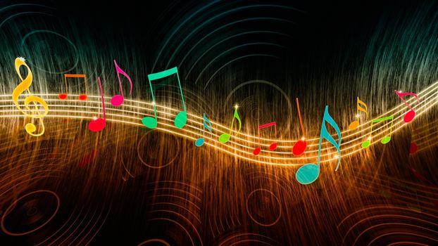 Бесплатные фото скрипичный ключ,желтый,ноты,цветные,волна,музыка,абстракции