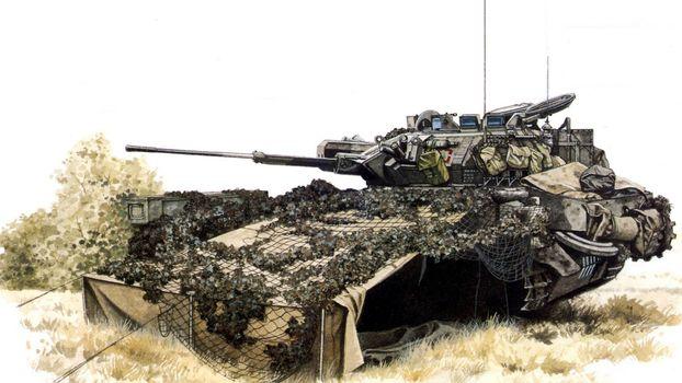Фото бесплатно танк, маскировка, орудие