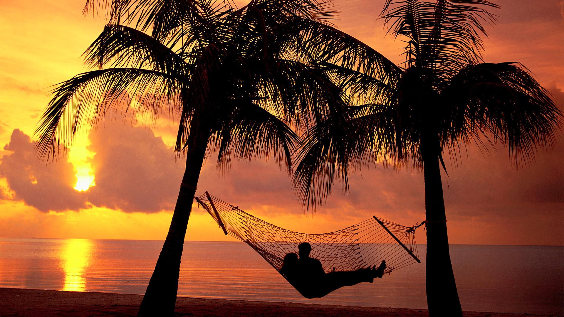 вечер, закат, берег