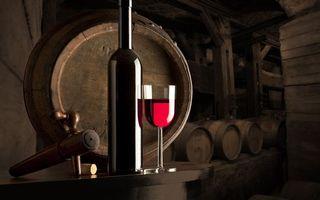 Бесплатные фото вино,красное,бокал,бутылка,старый,погреб,бочки