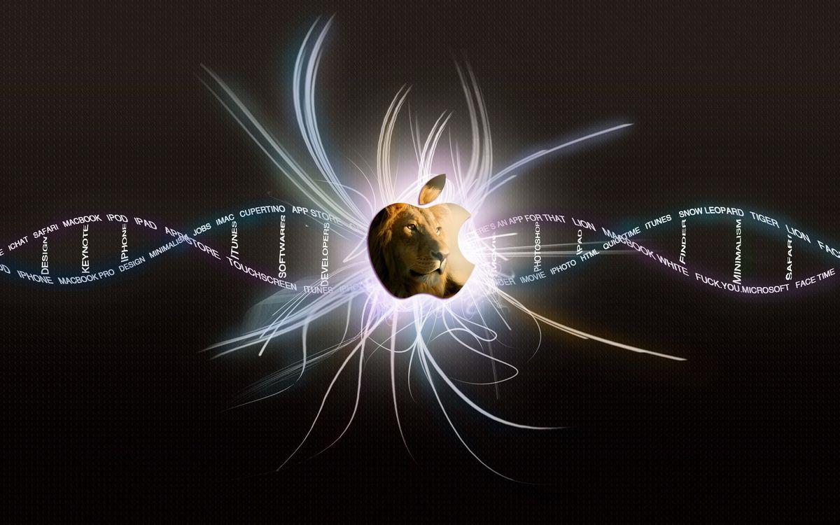Фото бесплатно яблоко, логотип, морда, лев, голова, линии, слова, днк, свет, абстракции, животные, разное, разное