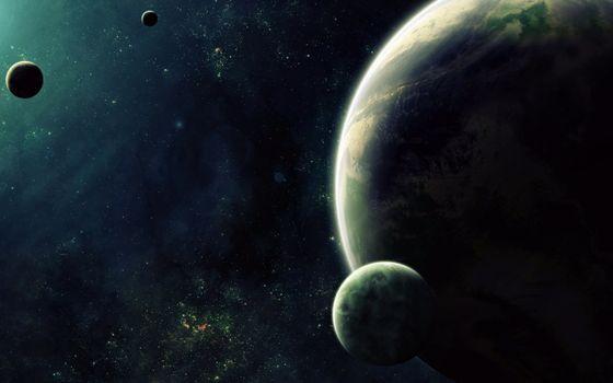 Photo free a green-quartz planet with three satellites, the universe, stars