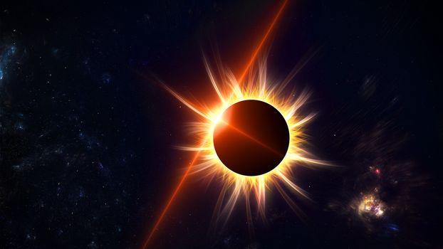Заставки солнечное затмение, корона, вспышка