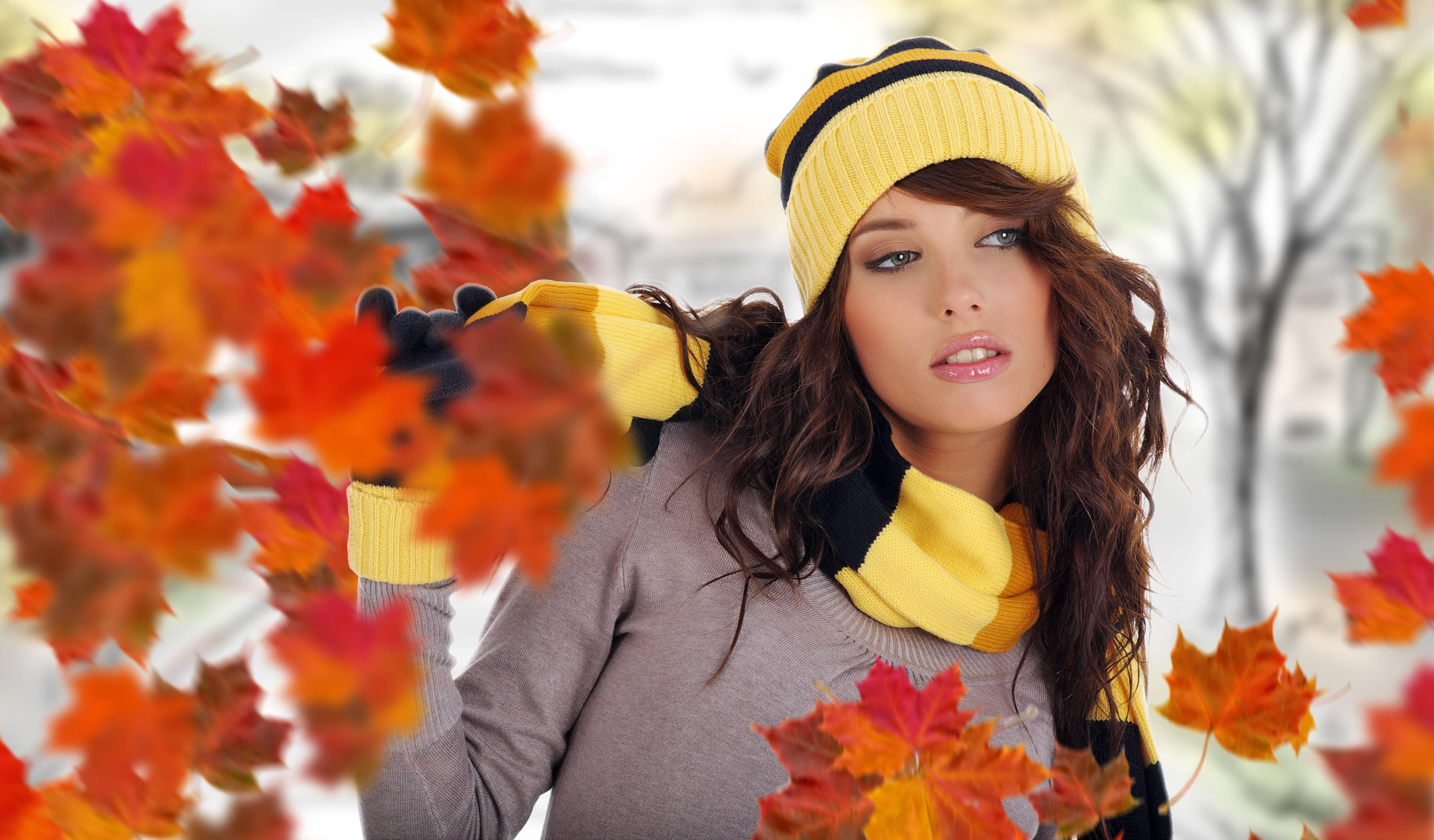 девушки листья осень лицо загрузить