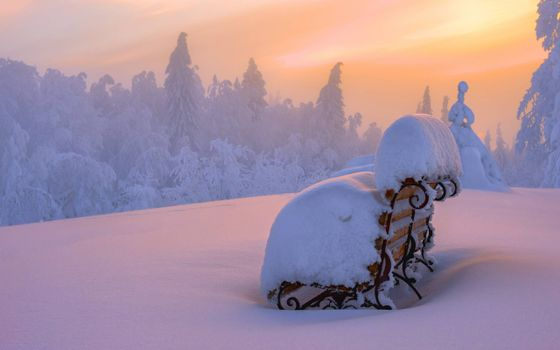 Photo free bench in snowdrifts, snow, park
