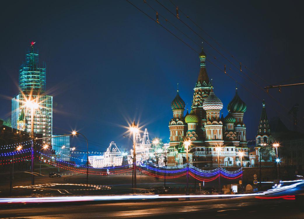 Фото бесплатно Москва, Россия, ночь, огни, иллюминация, Храм Василия Блаженного, Собор Василия Блаженного, город