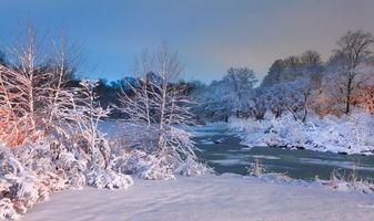 Бесплатные фото зима,река,деревья,закат,пейзаж