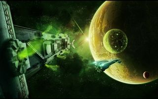 Photo free space, space ships, planets