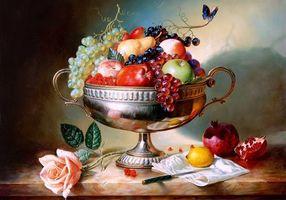 Фото бесплатно ваза, фрукты, натюрморт