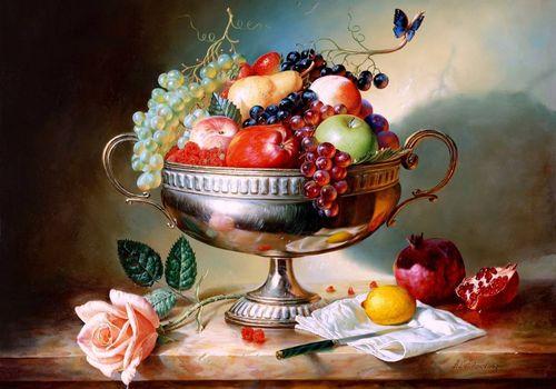 Заставки ваза, фрукты, натюрморт