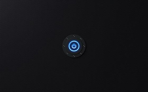Заставки кнопка, выключение, голубая, фон, черный, заставка