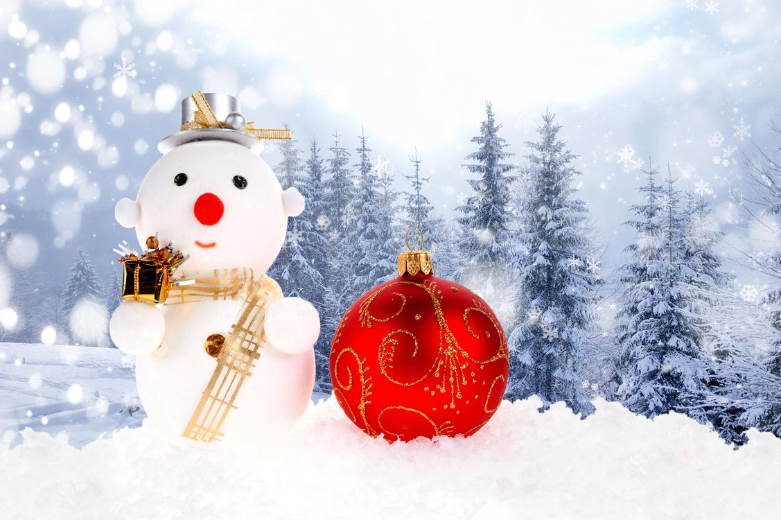 Free photo new year, new year wallpapers, decorations, christmas, background, design, snowman - to desktop