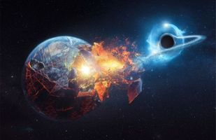 Photo free A black hole passing by the Earth, Living universe, space