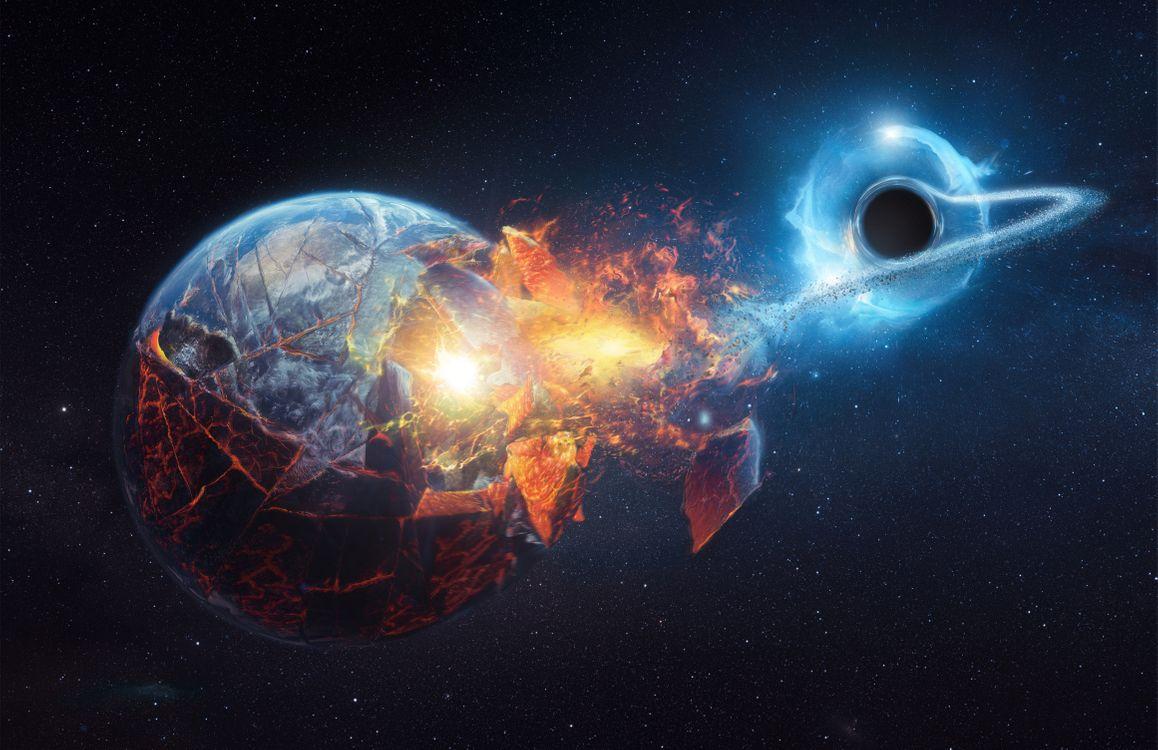 Фото бесплатно Черная дыра проходящая мимо Земли, Живая Вселенная, космос - на рабочий стол