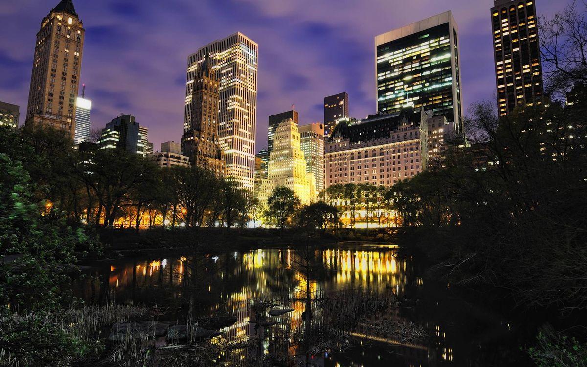 Обои ночной город, Нью-Йорк картинки на телефон