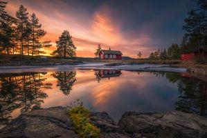 Фото бесплатно закат, дома, зима