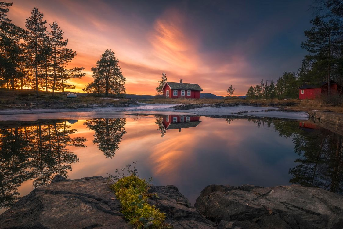 Photos for free sunset, house, Sunset - to the desktop