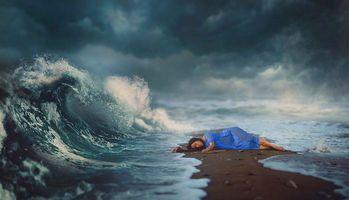 Бесплатные фото магия,сон,море,волшебство,небо,волна,девушка