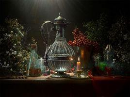 Бесплатные фото натюрморт,кувшин,свеча,колба,цветы,ягоды,стол