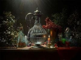 Photo free still-life, jug, candle
