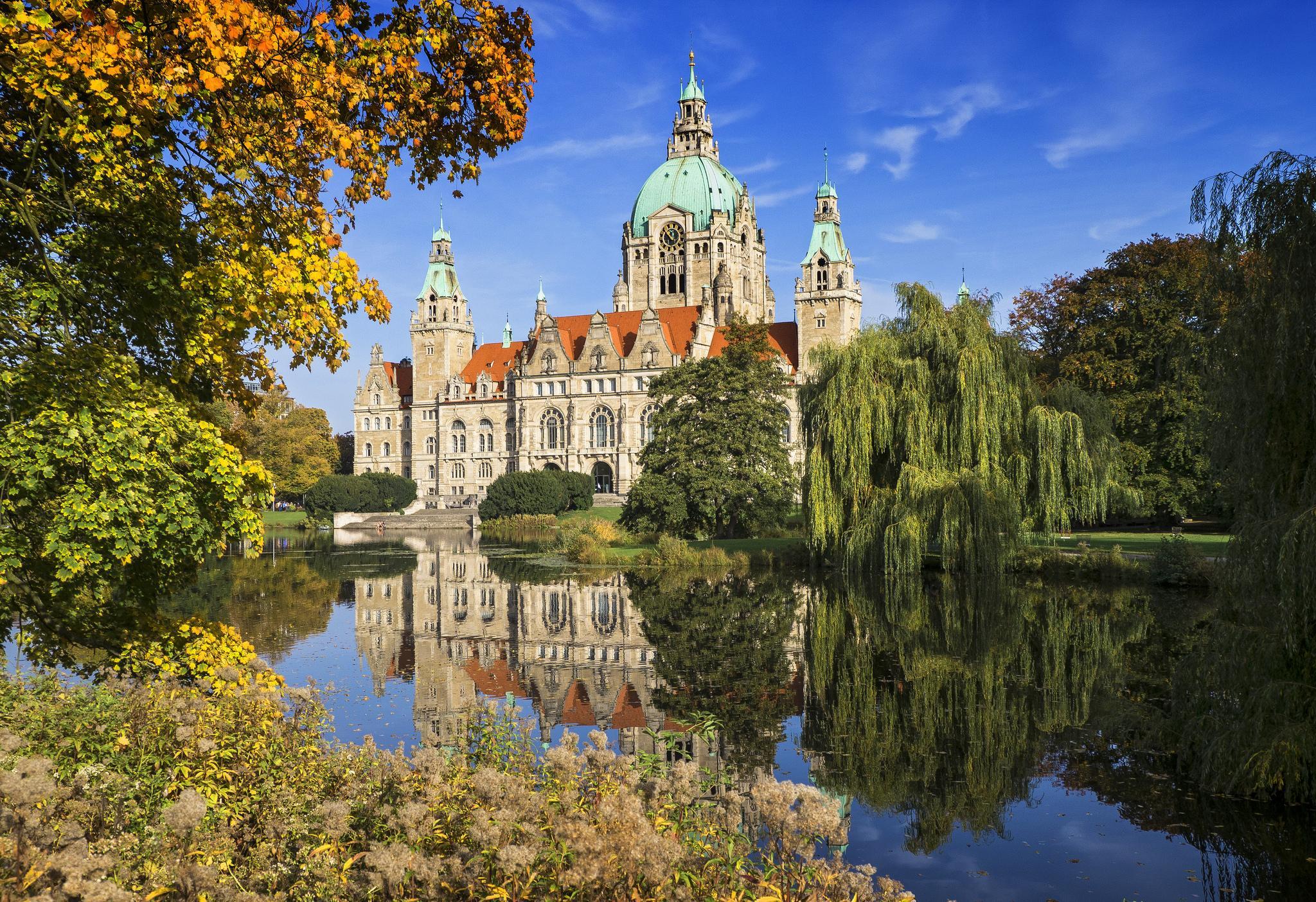 Обои Новая Ратуша Ганновера, Neues Rathaus, Германия, осень