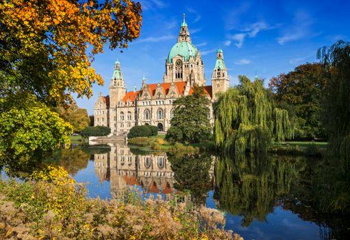 Бесплатные фото Новая Ратуша Ганновера,Neues Rathaus,Германия,осень,Ганновер,Нидерзаксен
