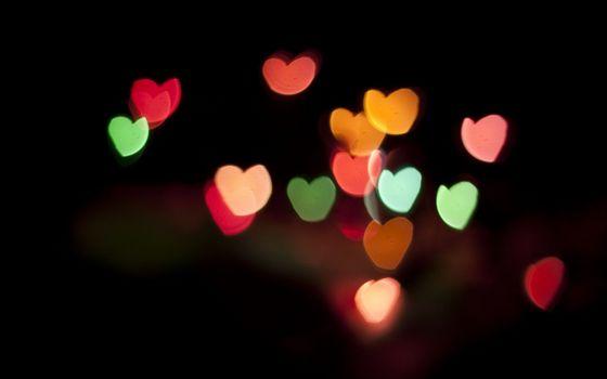 Заставки сердечки, цветные, фон темный