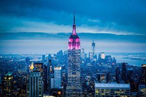 Фото бесплатно город, небоскреб, ночь, тучи