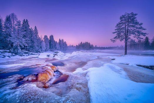 Заставки Kiiminkijoki River,Finland,река Кииминкийоки,Финляндия,зима,снег,река,деревья