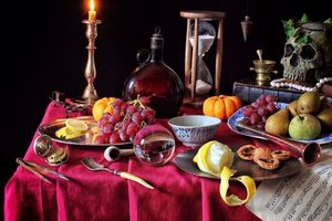 Бесплатные фото стол, фрукты, груши, виноград, лимон, тыква, череп
