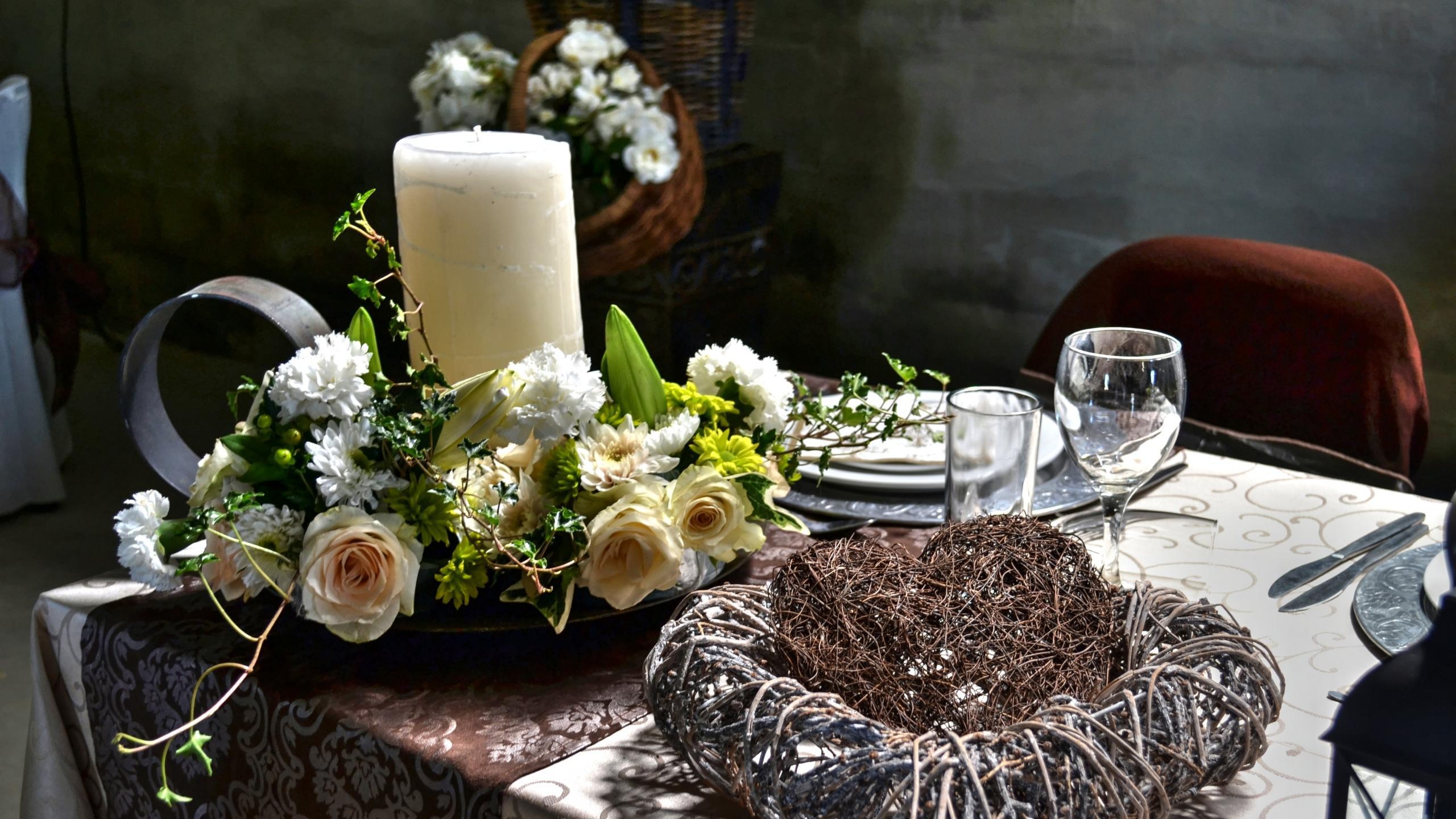 Обои сервировка, декор, стол, цветы