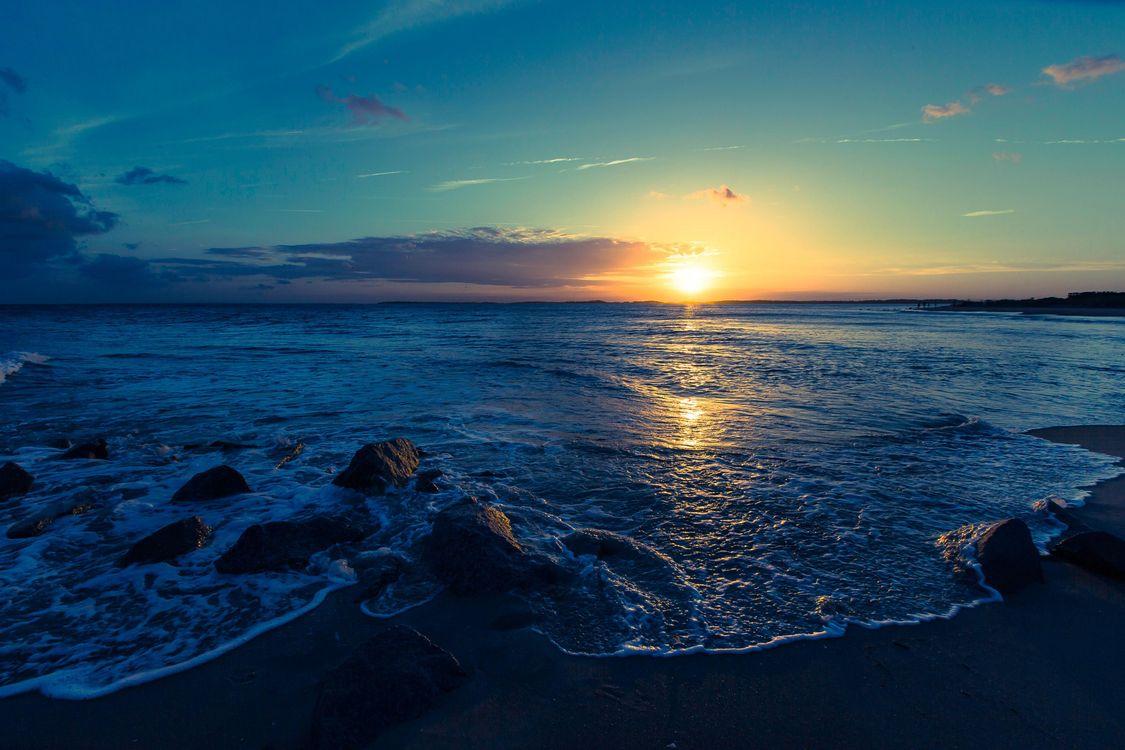 Фото бесплатно закат, море, берег, волны, пляж, пейзажи