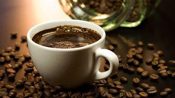 Фото бесплатно кофе, зерна, чашка