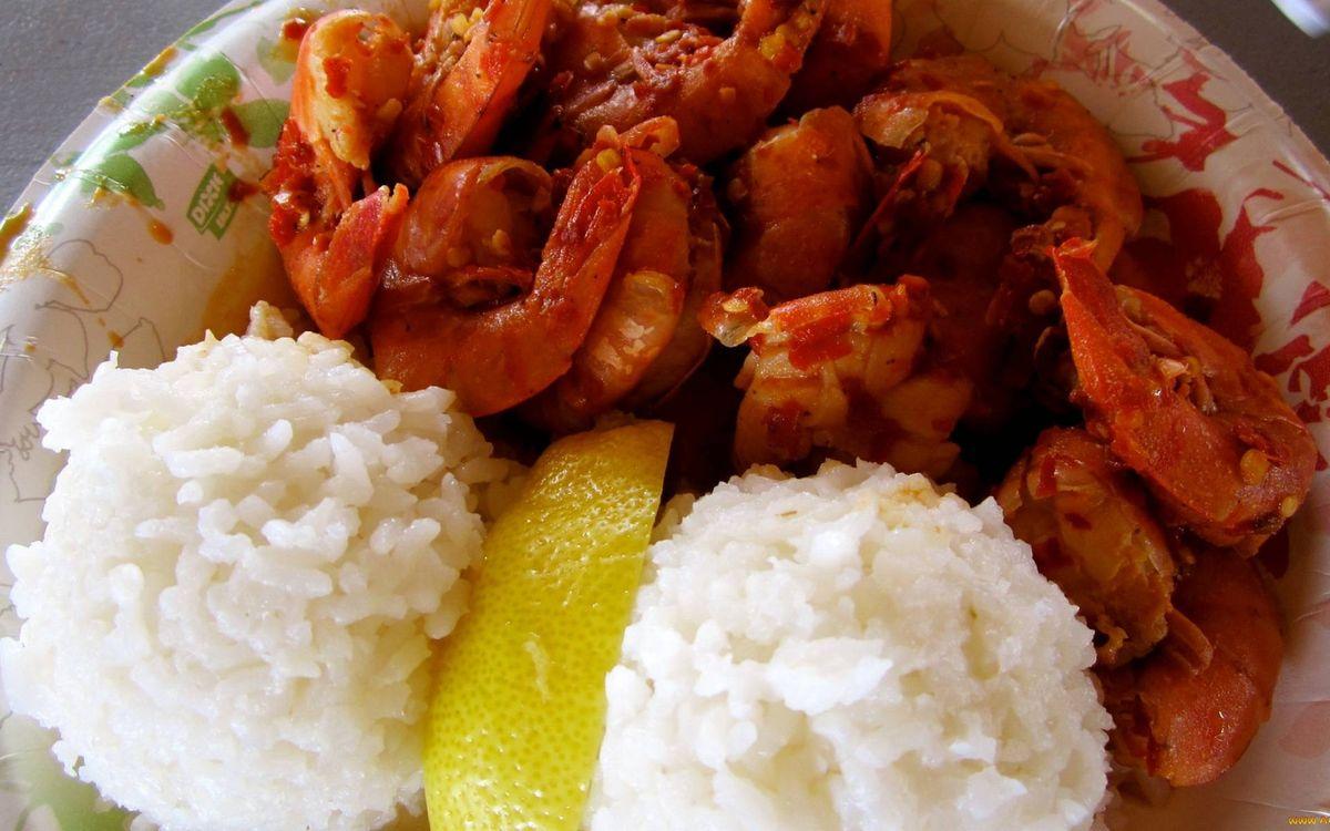 Фото бесплатно тарелка, рис, долька лимона - на рабочий стол