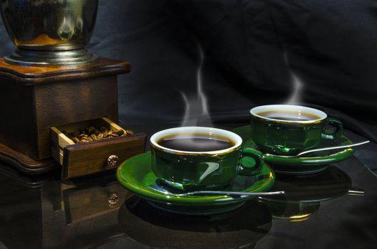 Бесплатные фото кофе в зернах,кофе,чашки,пар,кофемолка,натюрморт,напиток