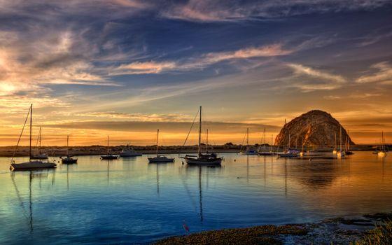 Фото бесплатно лодки, парусники, закат